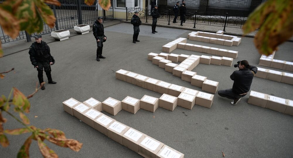 Boxes containing signatures of Ukrainian people in support of the referendum on Ukraine's accession to the NATO system of collective security, outside the President's Administration building