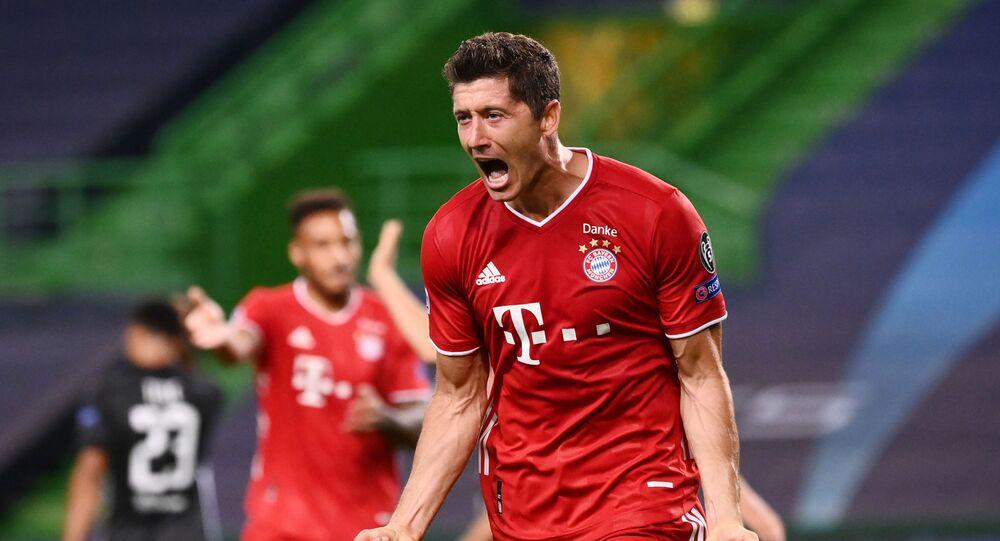 Bayern Munich's Robert Lewandowski celebrates scoring their third goal