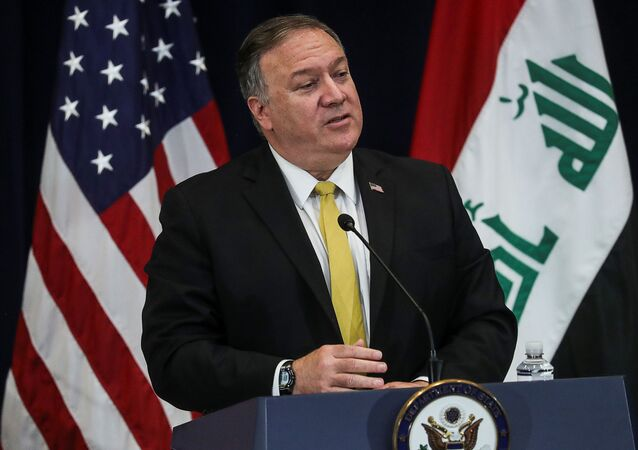 US Secretary of State Mike Pompeo at the State Department in Washington