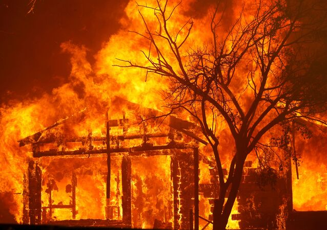 A burning home is seen along Cherry Glen Road during the LNU Lighting Complex Fire on the outskirts of Vacaville, California, U.S. August 19, 2020
