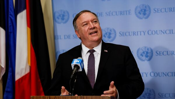 U.S. Secretary of State Mike Pompeo visits United Nations to submit complaint to Security Council calling for restoration of sanctions against Iran at U.N. headquarters in New York - Sputnik International