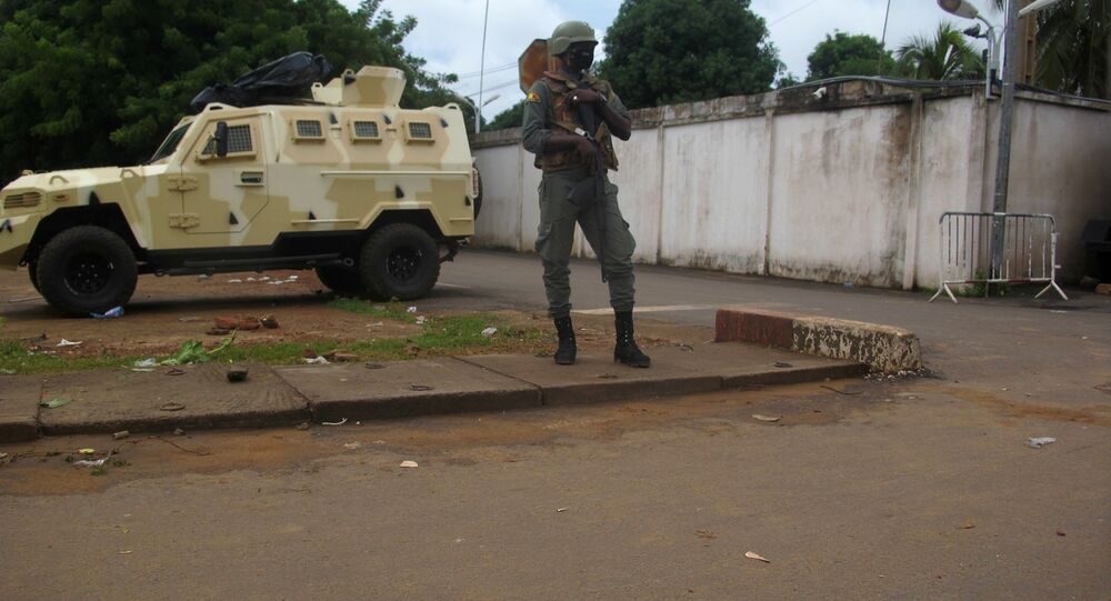 A Malian army soldier outside the private house of president Ibrahim Boubacar Keita in Bamako