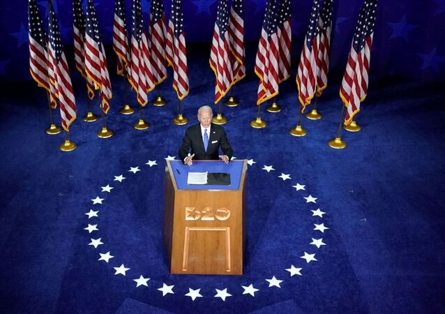 Former U.S. Vice President Joe Biden accepts the 2020 Democratic presidential nomination during a speech delivered for the largely virtual 2020 Democratic National Convention from the Chase Center in Wilmington, Delaware, U.S., August 20, 2020.