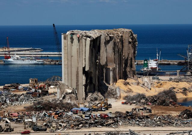 A general view shows the damaged port area in the aftermath of a massive explosion in Beirut, Lebanon, August 17, 2020.