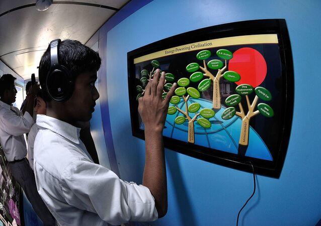 Digital India Mobile Science Exhibition Bus Interior with Visitors