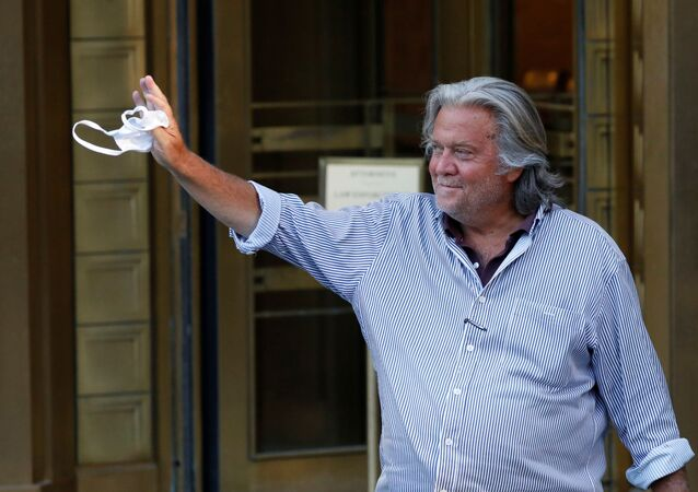 Former White House Chief Strategist Steve Bannon exits the Manhattan Federal Court, following his arraignment hearing for conspiracy to commit wire fraud and conspiracy to commit money laundering, in the Manhattan borough of New York City, New York, U.S. August 20, 2020