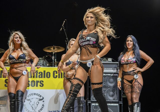Contestants participate in the Miss Buffalo Chip Beauty Pageant on the Wolfman Jack Stage at Buffalo Chip during the 80th annual Sturgis Motorcycle Rally on Saturday, 15 August 2020, in Sturgis, S.D.