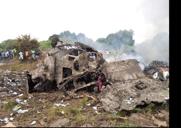 Alleged site of the plane crash near Juba, South Sudan.