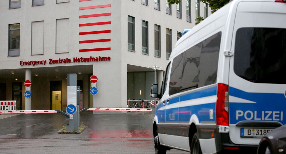 A general view shows an entrance of Charite Mitte Hospital Complex where Russian opposition leader Alexei Navalny is expected to be treated after being brought to Germany, in Berlin, Germany August 22, 2020.