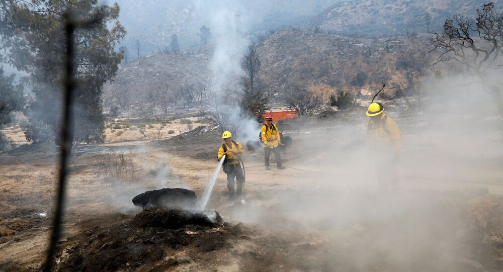 Firefighters extinguish hot spots as a fast-moving wildfire, called the Lake Fire, burns in a mountainous area of Angeles National Forest north of Los Angeles, California, U.S. August 13, 2020.