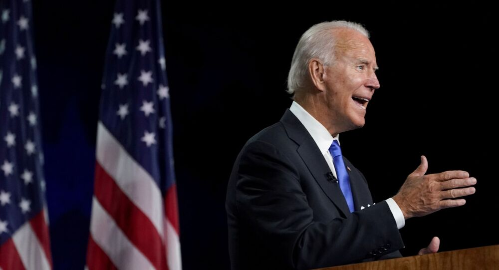 Former US Vice President Joe Biden accepts the 2020 Democratic presidential nomination during a speech delivered for the largely virtual 2020 Democratic National Convention from the Chase Center in Wilmington, Delaware, 20 August 2020.