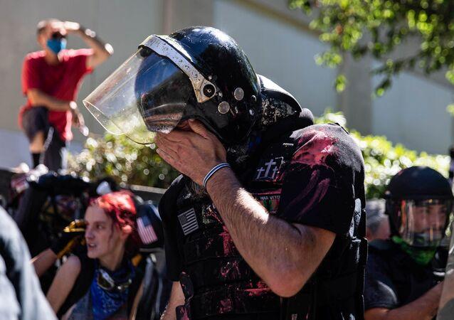 A protester in Portland