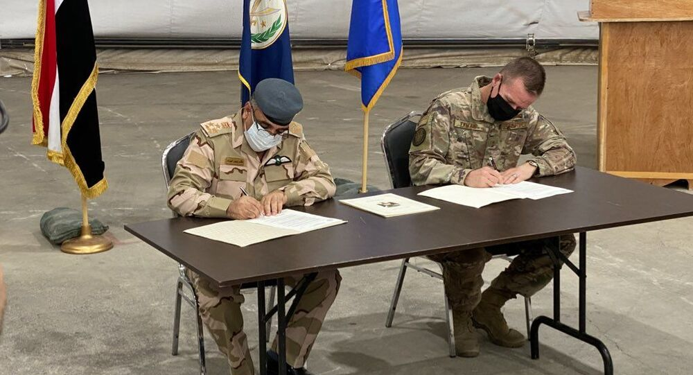 US and Iraqi officials sign agreement on handover of Camp Taji to Iraqi forces. August 23, 2020.
