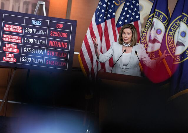 U.S. House Speaker Nancy Pelosi (D-CA) speaks about stalled congressional talks with the Trump administration on the latest coronavirus relief during herweeklynews conference on Capitol Hill in Washington, U.S., August 13, 2020.