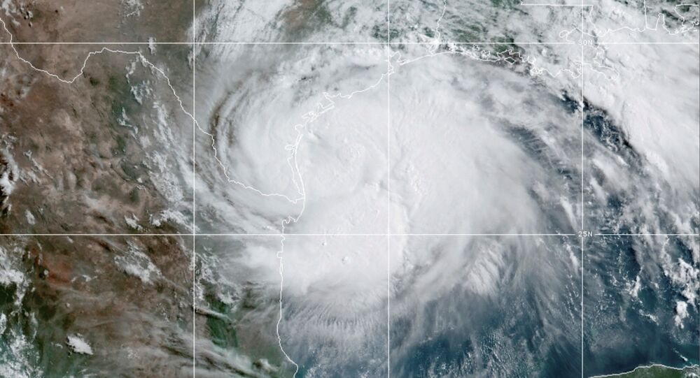 A satellite image shows hurricane in the Gulf of Mexico