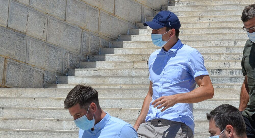 Manchester United captain Harry Maguire, who was detained on the island of Mykonos, leaves a court building on the island of Syros, Greece, August 22, 2020.