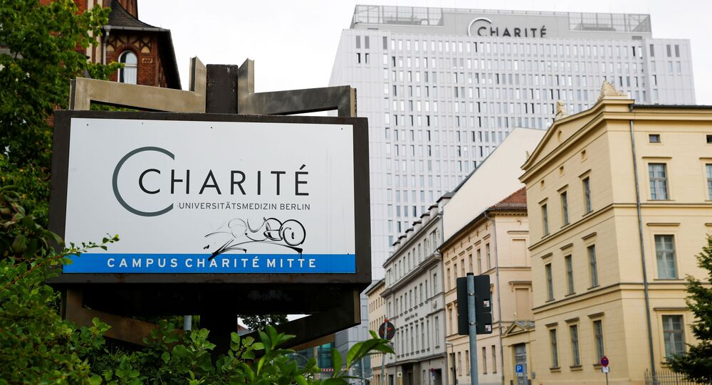 A general view shows a sign of the Charite Mitte Hospital Complex near the facility, where Russian opposition leader Alexei Navalny is receiving medical treatment, in Berlin, Germany August 22, 2020.