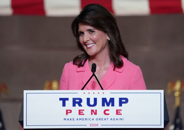 Former US Ambassador to the United Nations Nikki Haley speaks to the largely virtual 2020 Republican National Convention in a live address from Washington, DC, 24 August 2020.