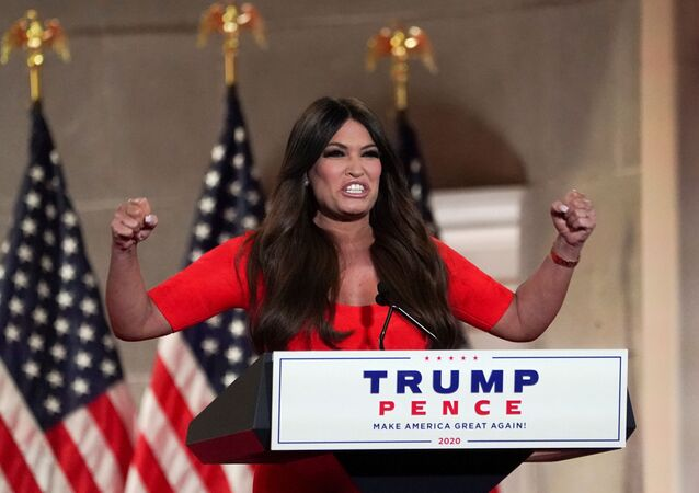 Kimberly Guilfoyle, the National Chair of the Trump Victory Finance Committee and girlfriend of Donald Trump Jr., delivers a pre-recorded speech to the largely virtual 2020 Republican National Convention, from Washington, U.S., August 24, 2020.