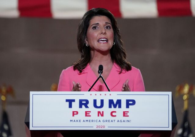 Former U.S. Ambassador to the United Nations Nikki Haley speaks to the largely virtual 2020 Republican National Convention in a live address from the Mellon Auditorium in Washington, U.S., August 24, 2020