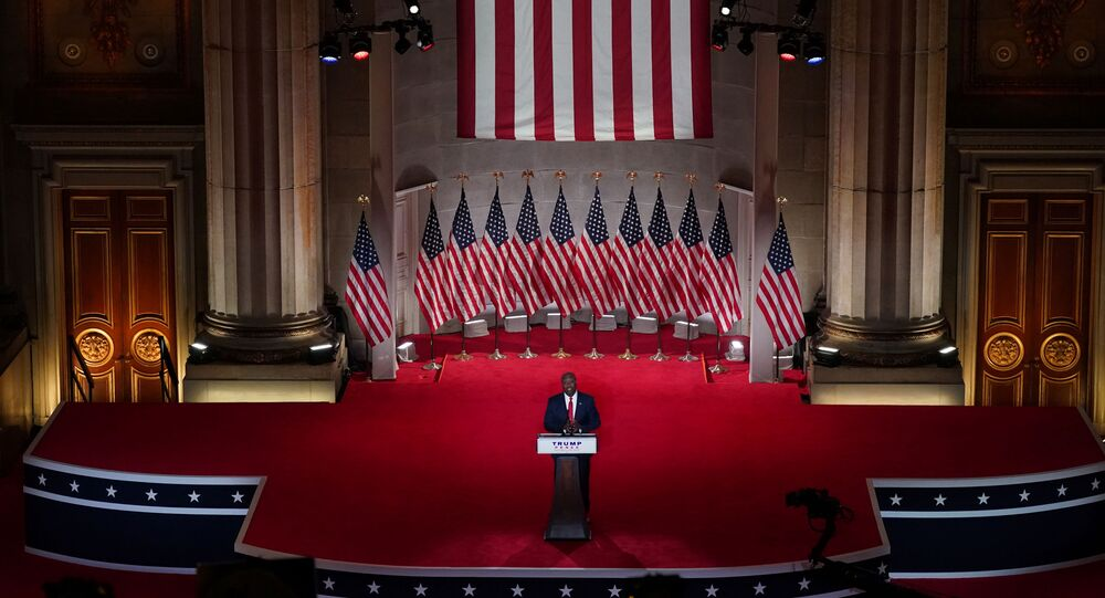 US Senator Tim Scott (R-SC) speaks to the largely virtual 2020 Republican National Convention in a live address from the Mellon Auditorium in Washington, DC, 24 August 2020.