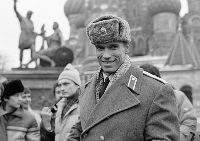 American actor and bodybuilder Arnold Schwarzenegger in Red Square, 31 January 1988