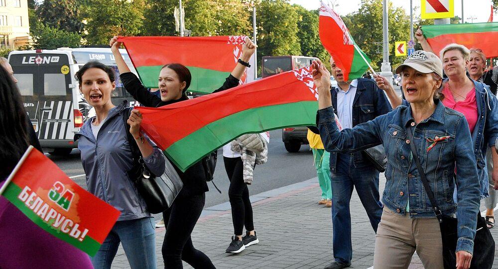 Supporters of Belarusian President Alexander Lukashenko in Minsk
