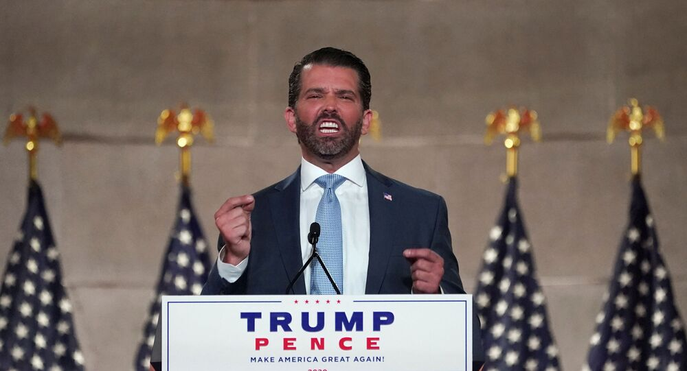 Donald Trump Jr. delivers a pre-recorded speech to the largely virtual 2020 Republican National Convention from Washington, U.S., August 24, 2020