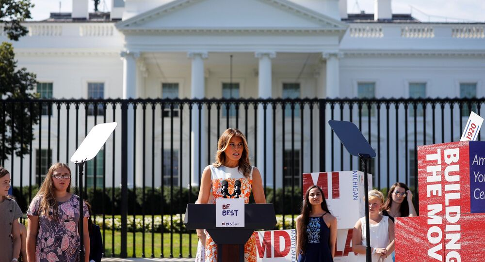 First Lady Melania Trump speaks during an event with young artists who depicted imagery related to the suffrage movement and the 19th Amendment, at the White House in Washington, U.S., August 24, 2020.