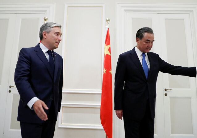 China's State Councillor Wang Yi meets with Canada's Foreign Minister Francois-Philippe Champagne in Rome, Italy, August 25, 2020.