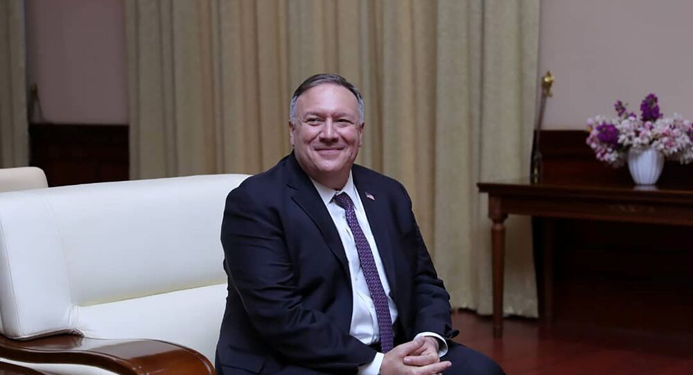 U.S. Secretary of State Mike Pompeo is seen during a meeting with Sudan's Sovereign Council Chief General Abdel Fattah al-Burhan in Khartoum, Sudan August 25, 2020.