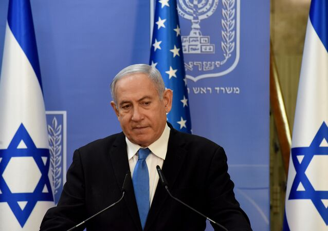Israeli Prime Minister Benjamin Netanyahu and U.S. Secretary of State Mike Pompeo (not pictured) make joint statements during a news conference after a meeting in Jerusalem, August 24, 2020.