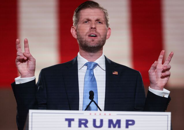 Eric Trump, the son of U.S. President Donald Trump, delivers a pre-recorded speech to the largely virtual Republican National Convention broadcast from the Mellon Auditorium in Washington, U.S., August 25, 2020.