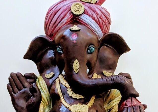 Idols of Lord Ganesha crafted from chocolate.