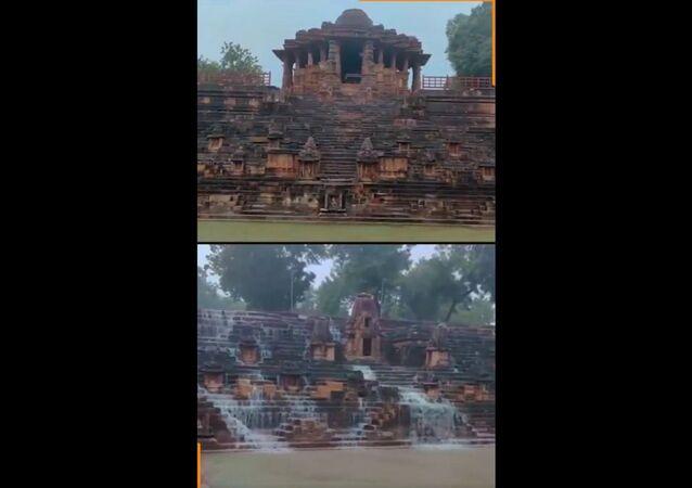 Modhera's iconic Sun Temple looks splendid on a rainy day