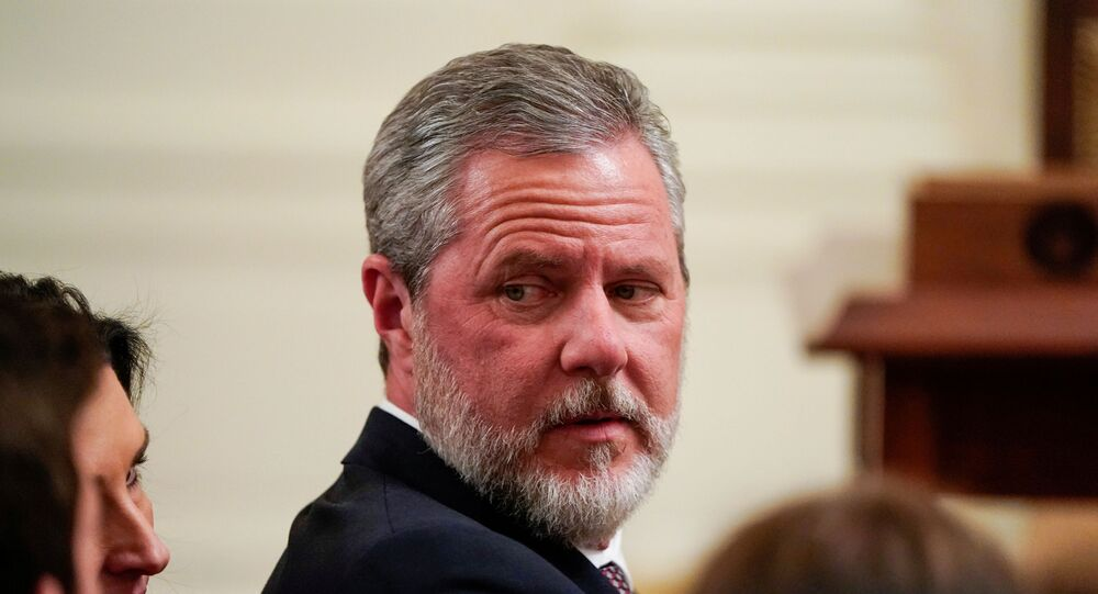 Jerry Falwell Jr., president of Liberty University, awaits the arrival of U.S. President Donald Trump to sign an executive order linking free speech efforts at public universities to federal grants in the East Room at the White House in Washington, U.S., March 21, 2019.