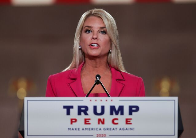 Former Florida AG of State Pam Bondi delivers a live address to the largely virtual 2020 Republican National Convention from the Mellon Auditorium in Washington, U.S., August 25, 2020.
