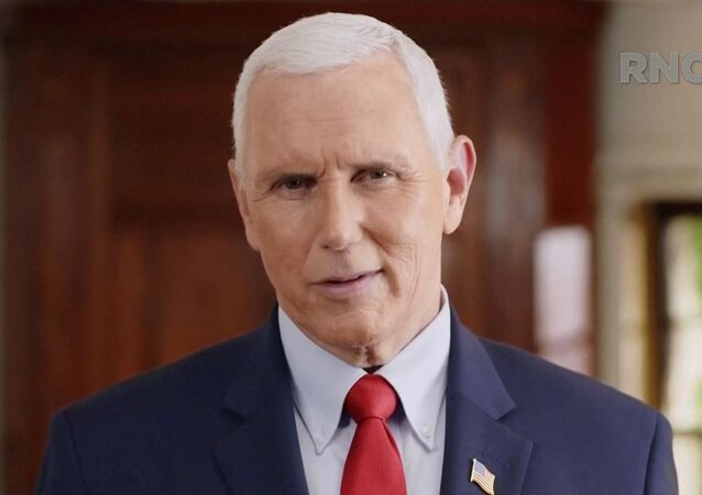 U.S. Vice President Mike Pence speaks in a segment streamed during the largely virtual 2020 Republican National Convention broadcast from Washington, U.S. August 25, 2020.