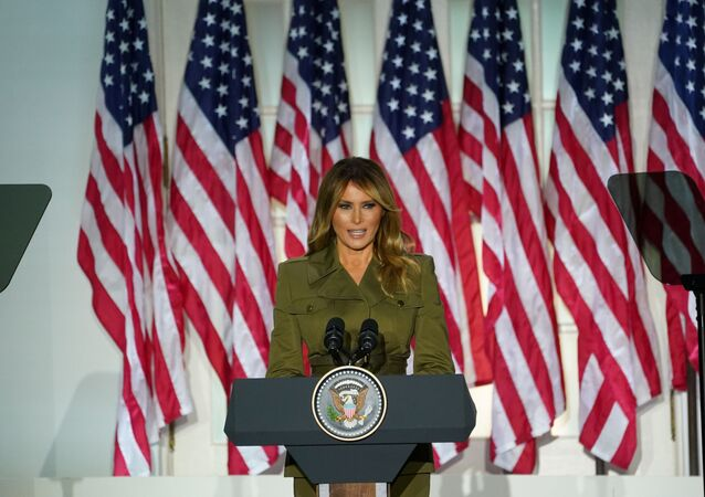 US first lady Melania Trump delivers her live address to the largely virtual 2020 Republican National Convention from the Rose Garden of the White House, 25 August 2020