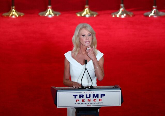 White House counselor Kellyanne Conway looks on before delivering a pre-recorded address to the largely virtual 2020 Republican National Convention from the Mellon Auditorium in Washington, U.S., August 26, 2020