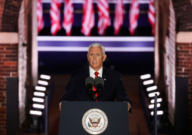 U.S. Vice President Mike Pence delivers his acceptance speech as the 2020 Republican vice presidential nominee during an event of the 2020 Republican National Convention held at Fort McHenry in Baltimore, Maryland, U.S., August 26, 2020.