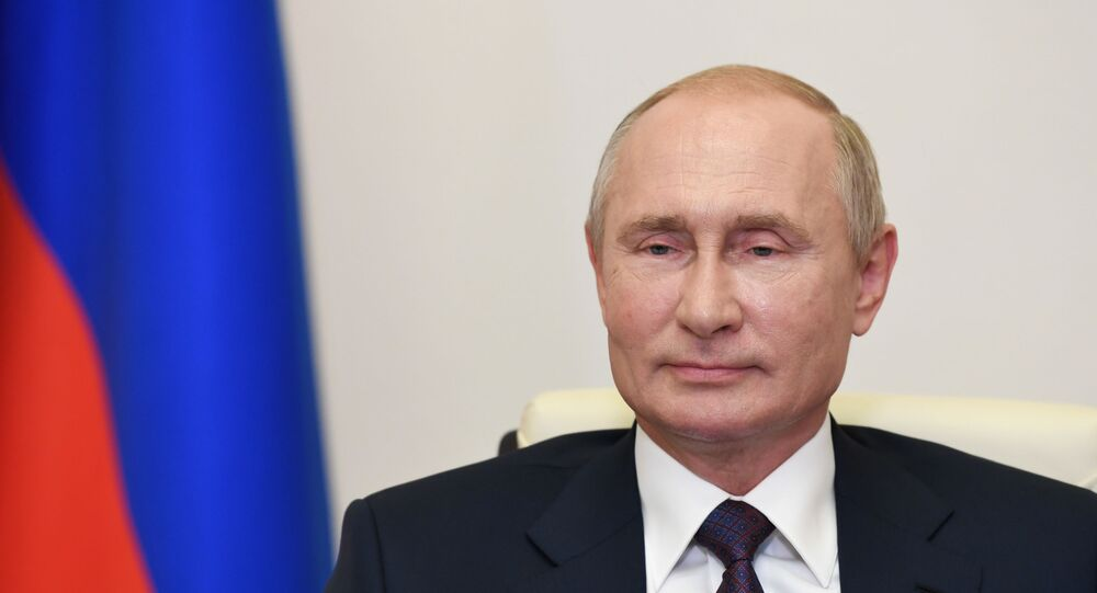 Russian President Vladimir Putin holds a video conference meeting with graduates of the Management Personnel Pool programme