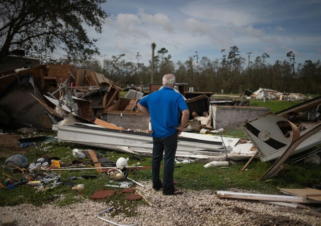 Lonnie Gatte returns to find his destroyed residence in the aftermath of Hurricane Laura in Sulphur, Louisiana, U.S., August 27, 2020.