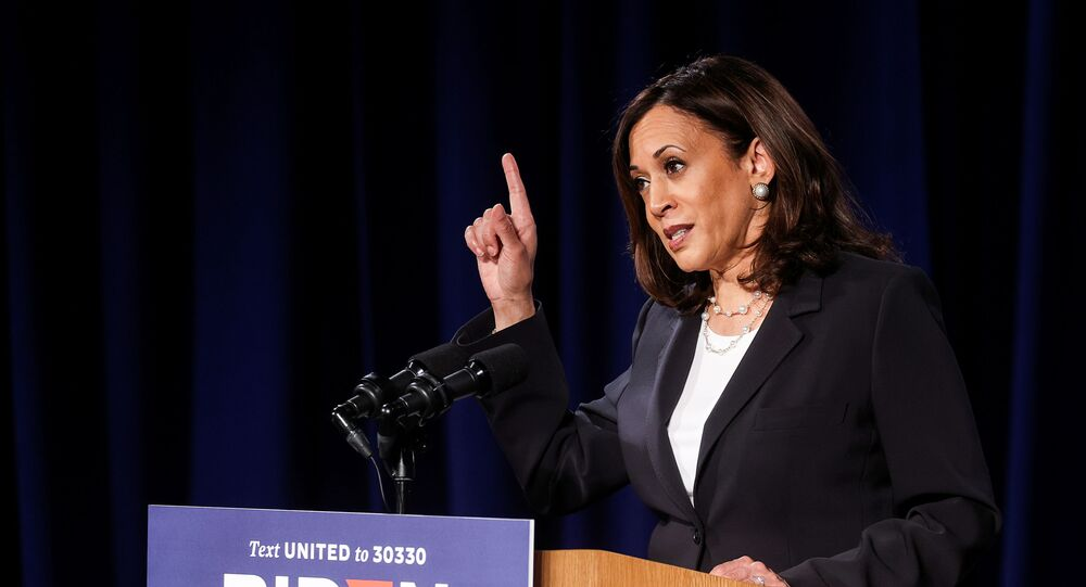Democratic US vice presidential nominee Kamala Harris delivers a campaign speech in Washington, US, 27 August 2020, hours ahead of the conclusion of the Republican National Convention.