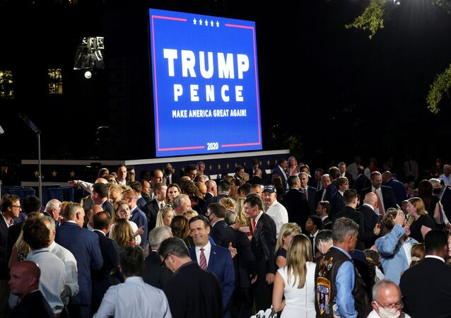 A crowd of supporters of U.S. President Donald Trump's re-election campaign expected to number more than 1500 people pack the South Lawn of the White House to attend the president's acceptance speech as the 2020 Republican presidential nominee during the final event of the 2020 Republican National Convention in Washington, U.S., August 27, 2020.