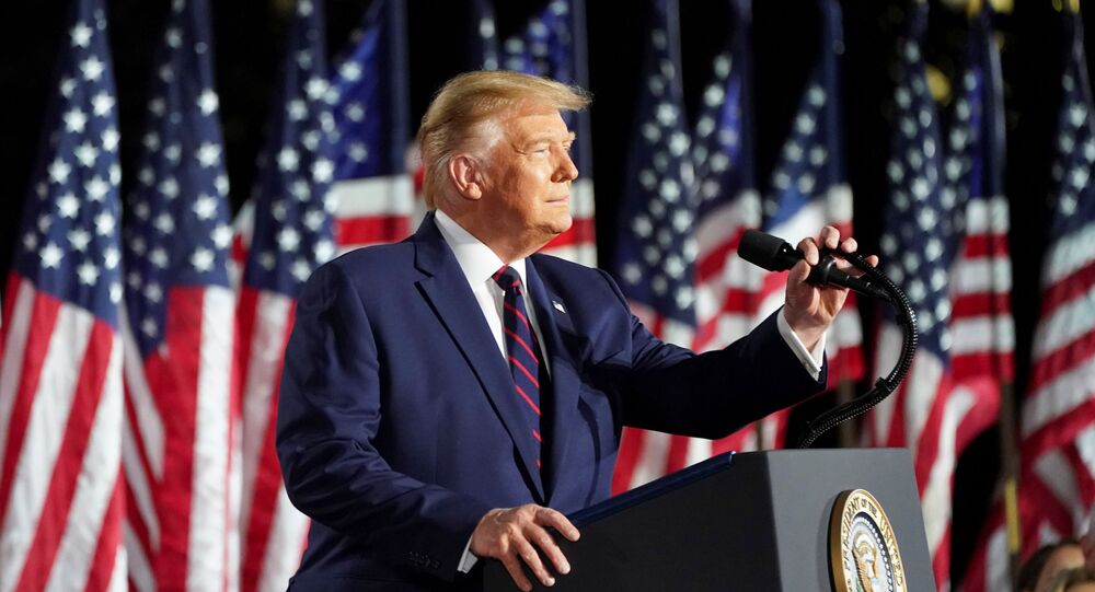 U.S. President Donald Trump delivers his acceptance speech as the 2020 Republican presidential nominee during the final event of the Republican National Convention on the South Lawn of the White House in Washington, U.S., August 27, 2020.