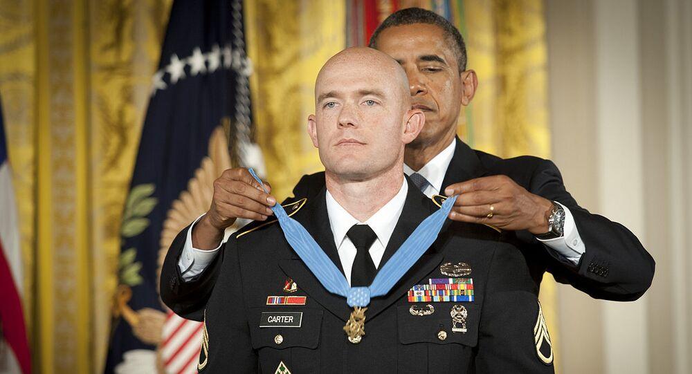 U.S. President Barack Obama awarding Medal of Honor to Ty Carter