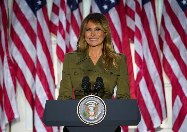 U.S. first lady Melania Trump delivers her live address to the largely virtual 2020 Republican National Convention from the Rose Garden of the White House in Washington, U.S., August 25, 2020