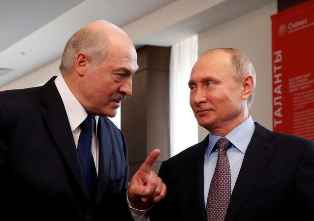 Belarus President Alexander Lukashenko and Russian President Vladimir Putin meet at the Sirius Educational Center in the Black sea resort of Sochi, Russia February 15, 2019. Sergei Chirikov