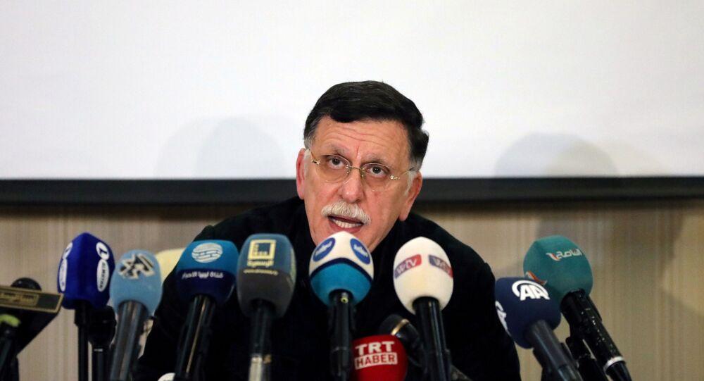 Fayez Mustafa al-Sarraj, Libya's internationally recognised Prime Minister, speaks during a news conference in Tripoli, Libya February 15, 2020.